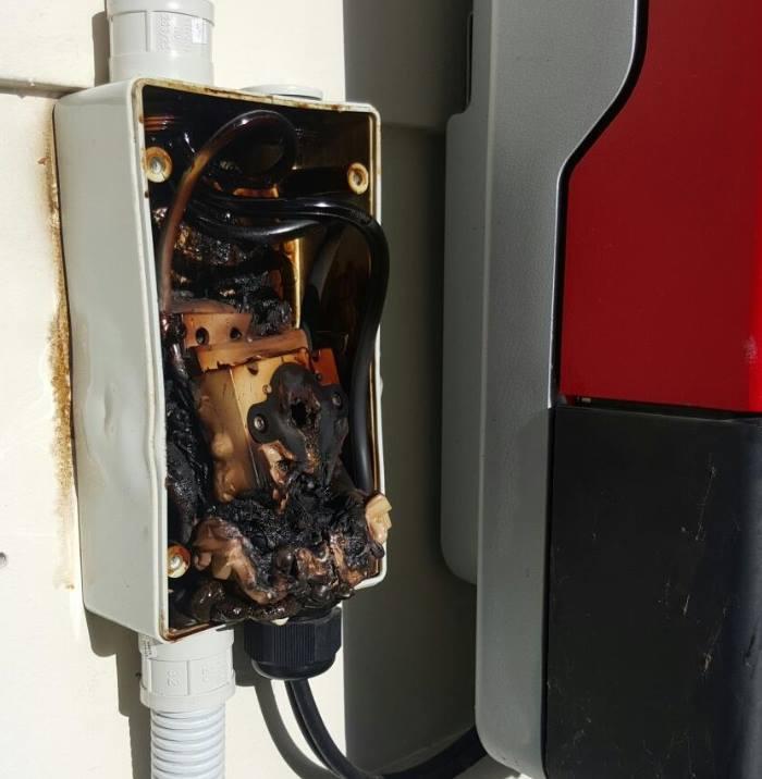 DC isolator burnt