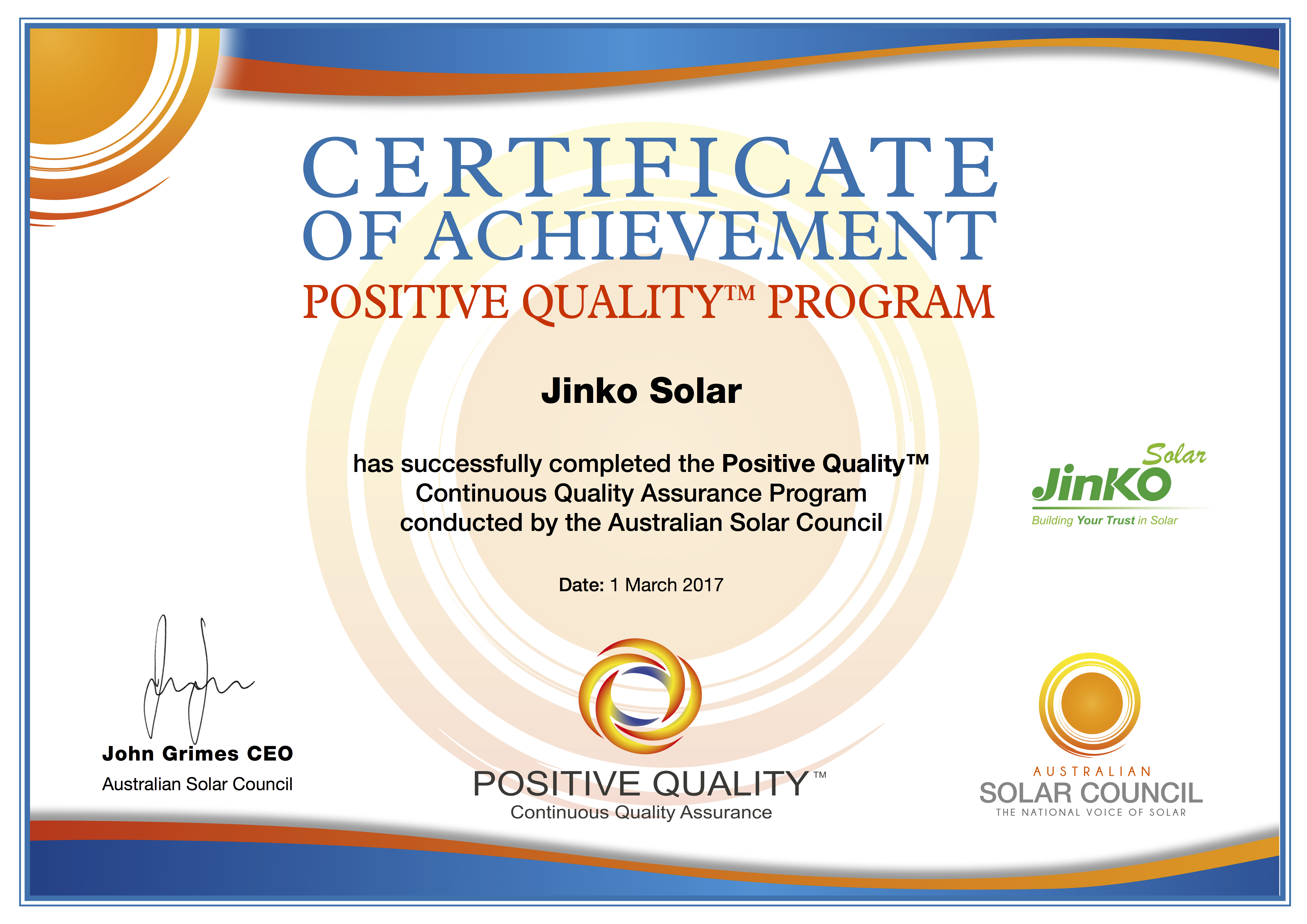 Certificate of Positive Quality_Jinko_March 20171